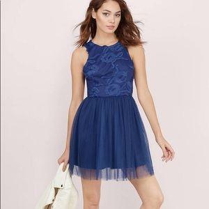 Tobi NWT XS midnight navy blue floral tulle dress